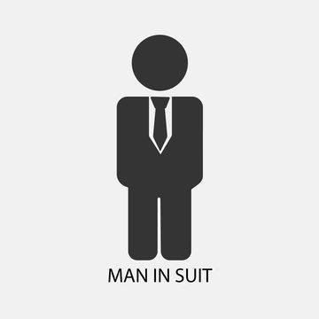 Man in suit vector icon Solid grey