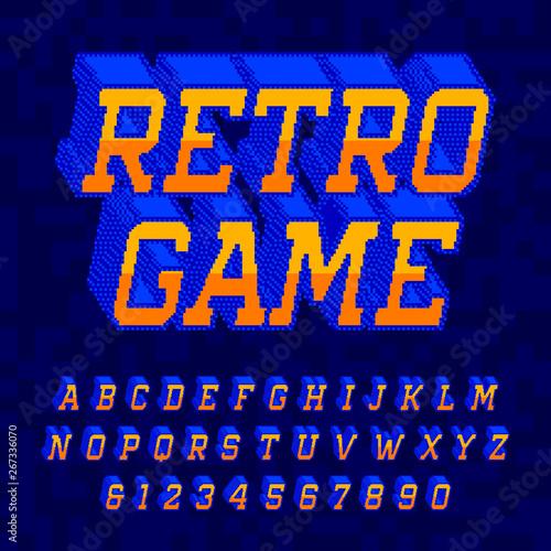 Retro Game alphabet font  Digital 3d pixel letters and