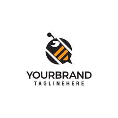 bee logo design concept template vector