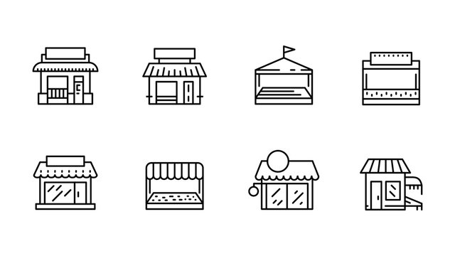 Commerce store front outline vector icon flat