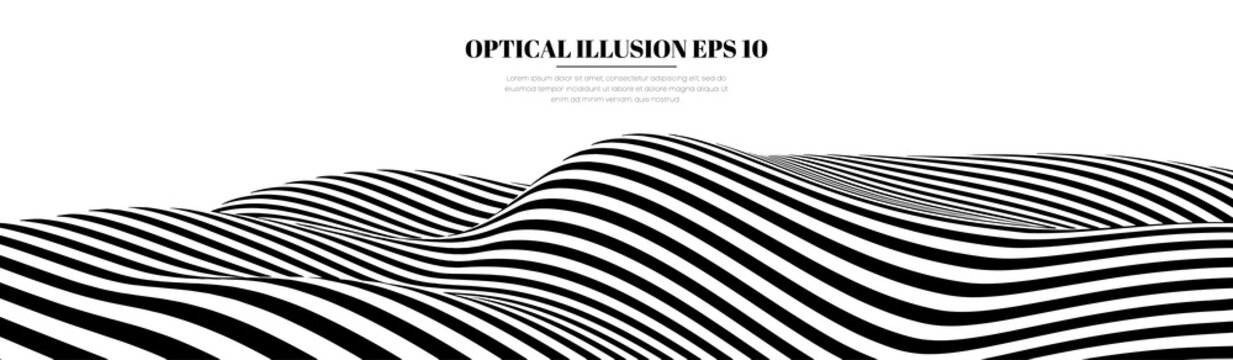 Optical illusion lines background. Abstract 3d black and white illusions. EPS 10 Vector illustration. Abstract waves vector.