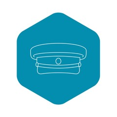 Military hat icon. Outline illustration of military hat vector icon for web