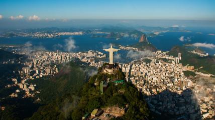 Foto auf Gartenposter Rio de Janeiro Rio de Janeiro, Brazil: Aerial view of Rio de Janeiro with Christ Redeemer and Corcovado Mountain