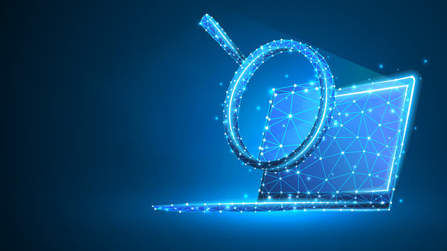 Magnifying glass on laptop screen. Business, Internet surfing, Analysis, Search symbol. Abstract digital wireframe, low poly mesh, polygonal vector blue neon 3d illustration. Triangle, line, dot