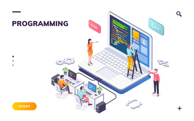 Programming office with developers and notebook. Coders or programmers writing program. Landing page for web IT courses with HTML and C++. Code team engineering computer software.