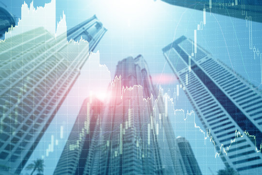 Universal finance abstract background Economic Trading growth graph chart on futuristic dubai city. Double exposure.