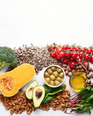 Foods rich in vitamin Eю Top view, flat lay with copy space