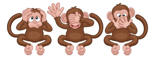 The monkeys from the saying see, hear and speak no evil cute cartoon characters.