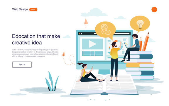WeEducation concept. Online training, e-learning, training and courses.flat design concept of education for website,banner,background.Vector illustration.b