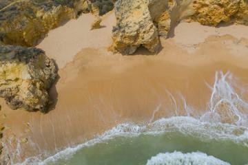 Autocollant pour porte Plage Atlantic ocean sandy beach with turquoise ocean and waves. Aerial view of Da Vigia beach in Lacos, Algarve, Portugal