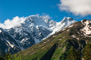 Beautiful mountain landscape of Caucasus Mountains. View of glacier named Seven