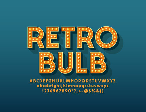 Vector Retro Light Bulb Alphabet. Electric Lamp Alphabet. Vintage Letters, Numbers and Symbols for Entertainment marketing