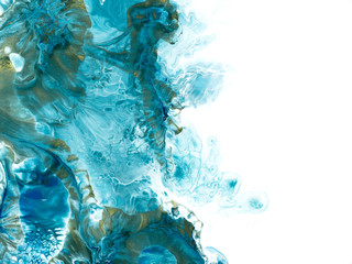 Blue and gold creative abstract hand painted background, marble texture, abstract ocean