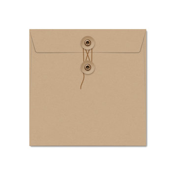Kraft paper square string tie envelope on white.