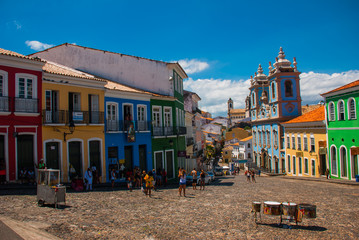 Garden Poster Brazil Historic city center of Pelourinho features brightly lit skyline of colonial architecture on a broad cobblestone hill in Salvador, Brazil