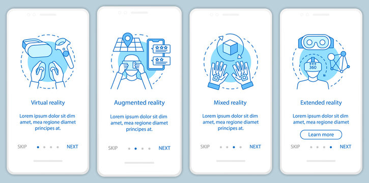 Extended reality onboarding mobile app page screen with linear concept