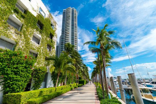 Green architecture, Miami Beach luxury condos and harbour, Miami, Florida, USA