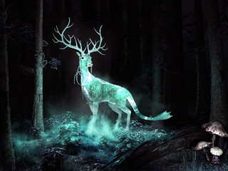 Magic deer in the forest Wall mural