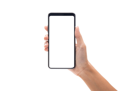 Woman hand holding the black smartphone with blank screen isolated on white background with clipping path.