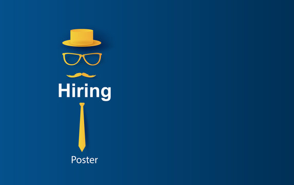 3D illustration of Hiring and recruitment poster concept.Creative design Paper art and craft with minimalist pastel color tone style.hat,tie,glasses,Mustache,job offers, job advertisement,art. vector