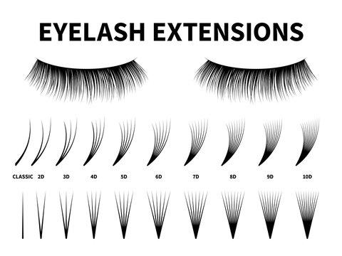 Eyelash extensions. Curling extension volume eyelashes, tweezer tool guide fake lash. Artificial lashes template makeup, vector design