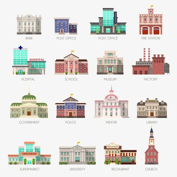 Government houses. Municipal office bank, buildings hospital school university police station library city exterior flat vector icons