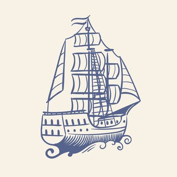 Sketch sailboat. Vintage medieval pirate running away ship and waves nautical travel vector floating sea concept