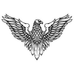 Eagle illustration in engraving style. Design element for logo, label, sign, poster, badge, emblem.