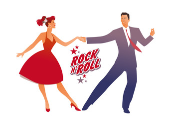 Fototapete - Beutiful girl wearing red retro dress and handsome man dancing rock, rockabilly, swing or lindy hop