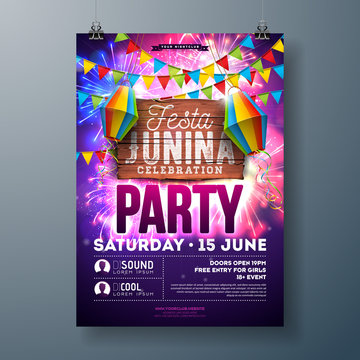 Festa Junina Party Flyer Design with Flags, Paper Lantern and Typography Design on Firework Background. Vector Traditional Brazil June Festival Illustration for Invitation or Holiday Celebration