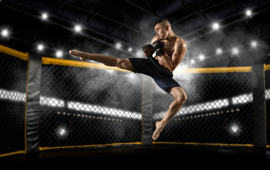 mma male fighter jumping