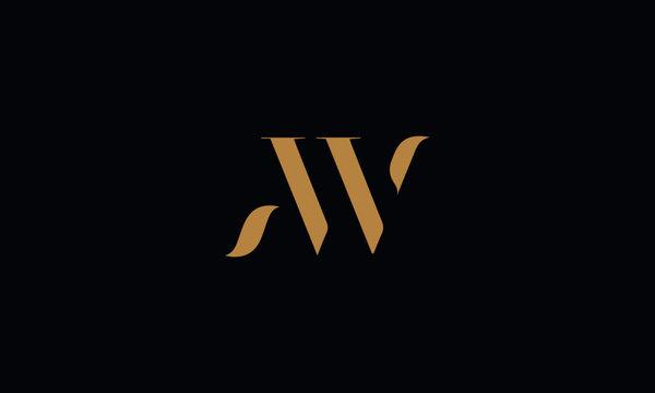 AW logo design template vector illustration