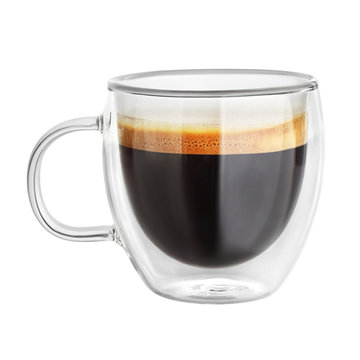 Mug with espresso coffee isolated