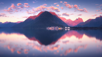 Printed roller blinds Blue Wonderful sunset view of Romsdalfjord near Andalsnes in Norway