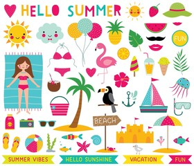 Summer time design elements set