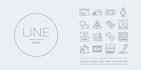 16 line vector icons set such as spotlight, stage, storyboard, studio, subtitle contains theatre, ticket, ticket office, ticket window. spotlight, stage, storyboard from cinema outline icons. thin,