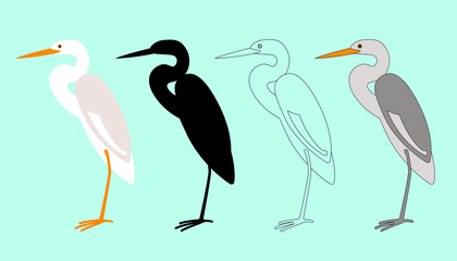 set   heron, vector illustration,flat style,profile side