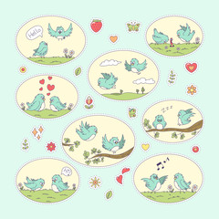 Birds sticker. Set of cute cartoon characters. Vector collection for stickers, patches, badges, pins. Hand drawn style doodle.