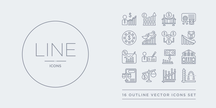 16 line vector icons set such as average (arithmetic mean), average earnings growth, balance of payments, balance sheet, bank of england contains bank of england's inflation report, banker's draft,