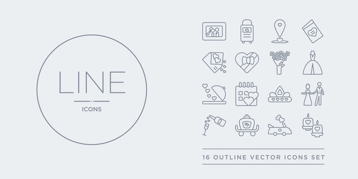 16 line vector icons set such as wedding candle, wedding car, wedding carriage, champagne, couple contains crown, day, dinner, dress. candle, car, carriage from and love outline icons. thin, stroke