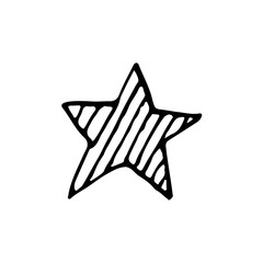 Cute cartoon hand drawn star icon. Sweet vector black and white star icon. Isolated monochrome doodle star icon on white background.