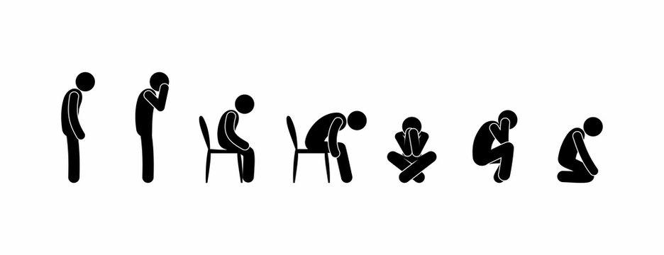 Sad Man, stick figure pictogram, sad depressed person icon