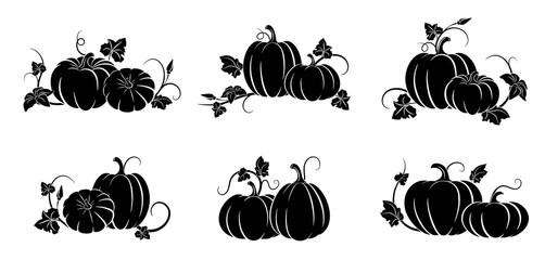 Pumpkin. Set of silhouettes of different pumpkins. Vector illustration
