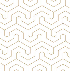 Vector geometric gold pattern. Seamless modern linear pattern.