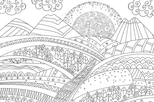 sunrise in mountain landscape for your coloring book