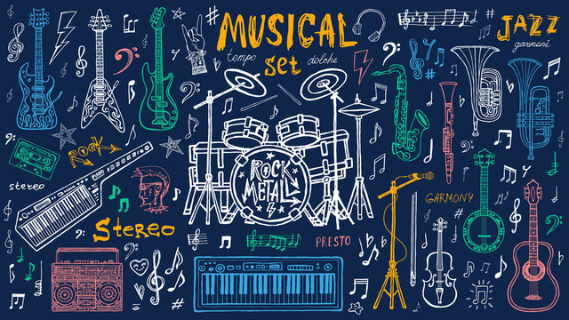 Funny cool sketch set, theme music party, doodle style lettering, musical notes, instruments slogan graphic art for t shirt design print posters. Hand drawn vector illustration.
