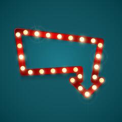 Retro banner with shining lights. Vintage billboard or bright signboard. Shining arrow banner sign. Vector illustration