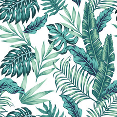 Seamless pattern tropical composition white background