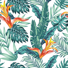 Wall Mural - Seamless pattern tropical leaves flowers white background