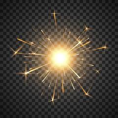 Bengal fire. Burning shiny sparkler firework. Realistic light effect. Party decor element. Magic light. Vector illustration isolated on transparent background